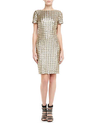 Tabie Short-Sleeve Sequined Dress