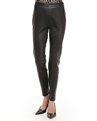 Slim Leather Ankle Pants