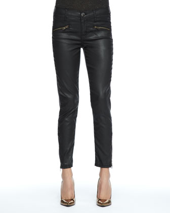 The Perfect Stud-Collar Shirt & Soho Coated-Denim Stiletto Pants