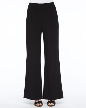 Crepe Button-Front Shirt & Wide-Leg Jersey Pants, Petite