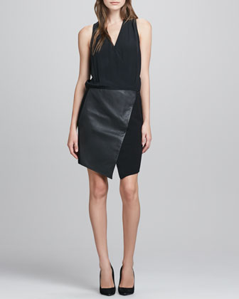 V-Neck Silk & Leather Combo Dress