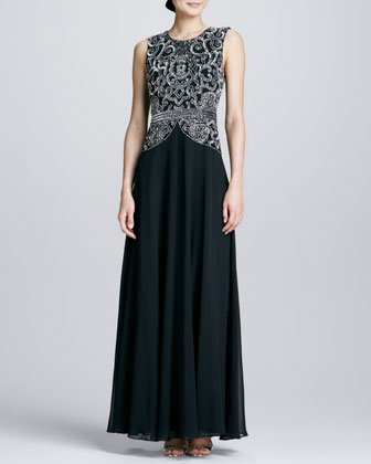 Beaded Bodice Georgette Gown