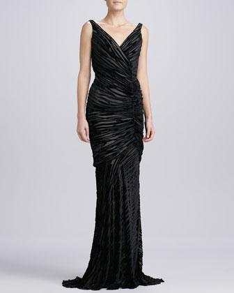 Sleeveless Burnout Gown, Black