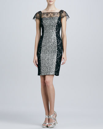 Colorblock Lace & Sequined Cocktail Dress
