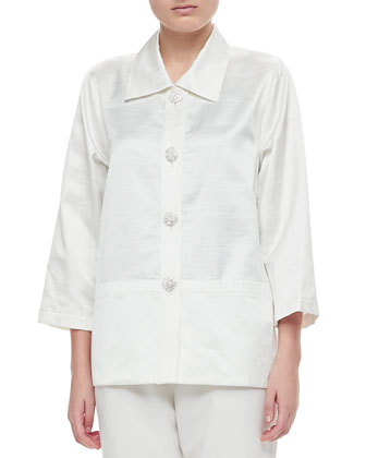 Shantung Placket Shirt & Straight Leg Pants, Petite