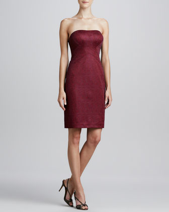 Jacquard Strapless Cocktail Dress