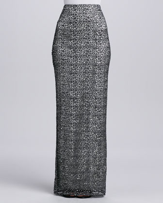 Sequined Lace Long Straight Skirt
