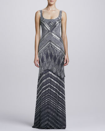 Deco-Beaded Scoop-Neck Gown