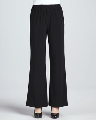 Wide-Leg Stretch Pants, Women's