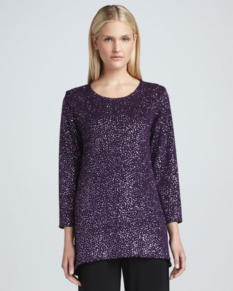 Glitter High-Low Tunic, Petite