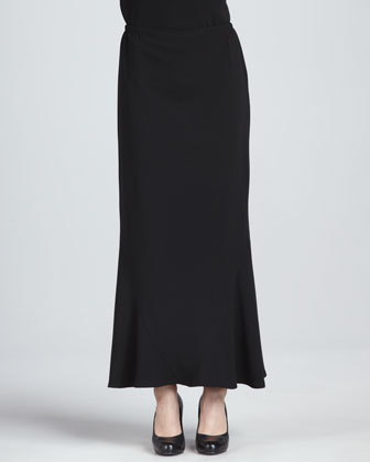 Crepe Stretch Tulip Maxi Skirt, Black