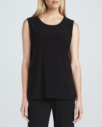 Stretch-Knit Long Tank, Petite
