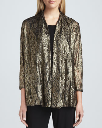 Metallic Lace Easy Cardigan, Petite