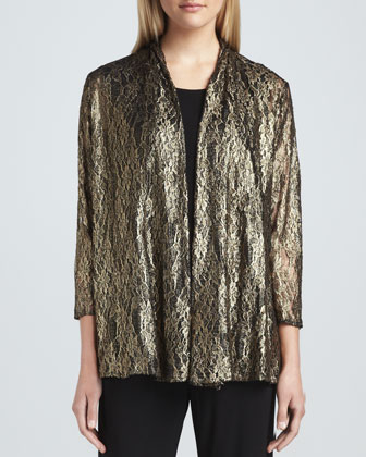 Metallic Lace Easy Cardigan, Stretch-Knit Long Tank & Stretch-Knit Slim Pants