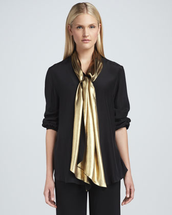 Liquid Golden Tie-Neck Blouse, Petite