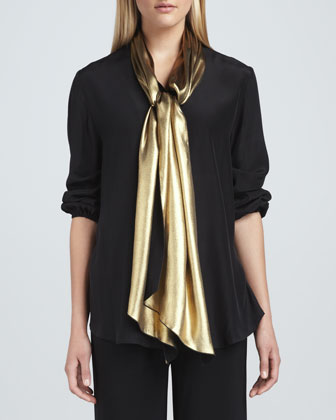 Liquid Gold Tie-Neck Blouse & Wide-Leg Stretch Pants