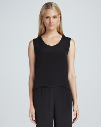 Basic Silk Crepe Tank, Women's