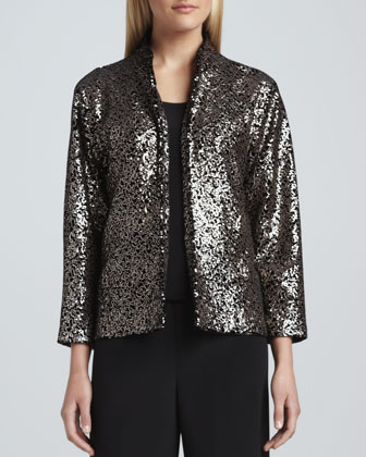 Sequined Velvet Jacket, Basic Silk Crepe Tank & Wide-Leg Crepe Pants