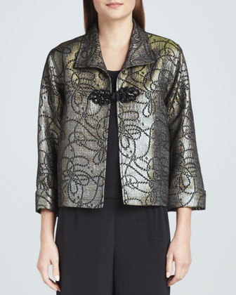 Iridescent Jacquard Jacket with Frog Closure