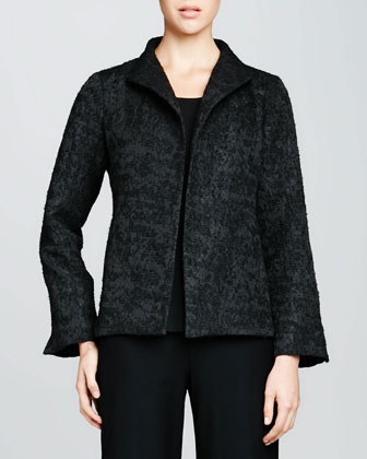 Threaded Jacquard High-Collar Jacket, Women's