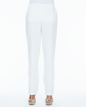Crepe Straight-Leg Pants, Women's