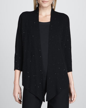 Beaded Drape-Front Cardigan