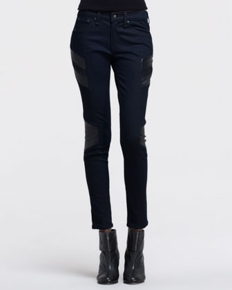Halifax Leather-Panel Motocross Jeans, Midnight