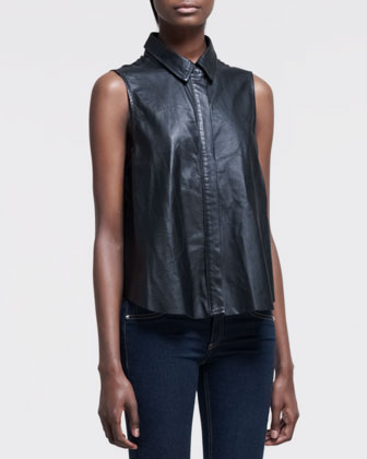 Sleeveless Leather Blouse