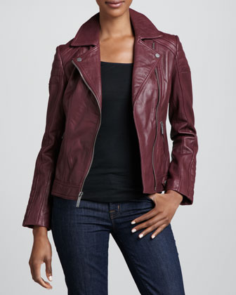 Notched-Collar Trapunto Leather Moto Jacket