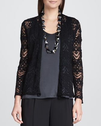 Wavy Wool Lace Cardigan, Black