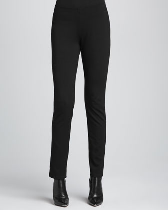 Fur Leather-Trim Coat, Slim Jersey Top, Slim Ponte Pants & Silk-Blend ...