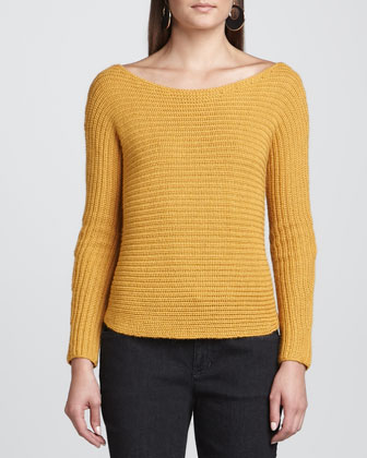 Alpaca/Silk Sweater Top, Ochre