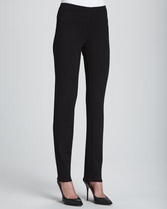 Boiled Wool Vest, Jewel-Neck Top, Slim Ponte Pants & Wool Printed Scarf ...