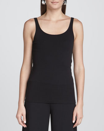 Organic Cotton High-Low Top, Slim Tank & Cashmere Textured Scarf