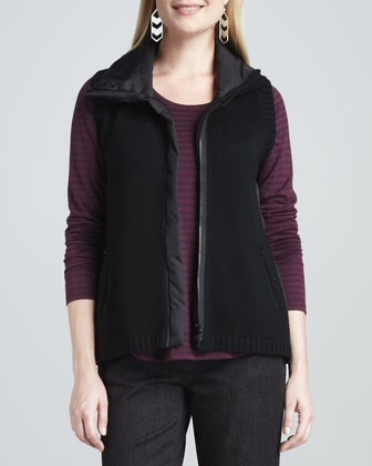 Parka-Trim Merino Zip-Front Vest, Cashmere Striped Top, Organic ...