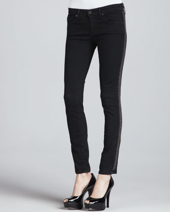 The Remi Shimmer-Side Tuxedo Ankle Jeans