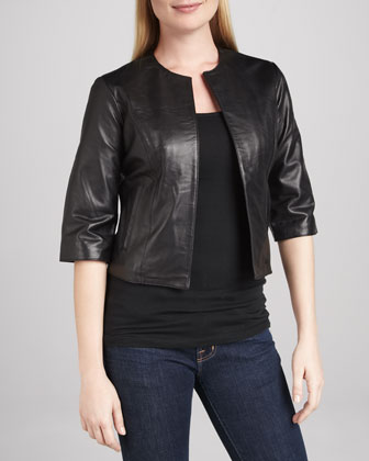 Leather Half-Sleeve Bolero Jacket