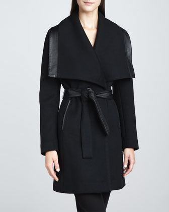 Marina Leather-Trim Coat