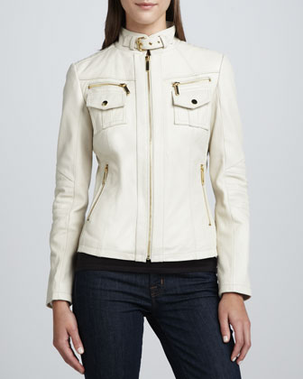 Chest-Pocket Buckle-Collar Leather Jacket