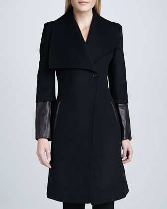 Carolotta Leather-Cuff Coat