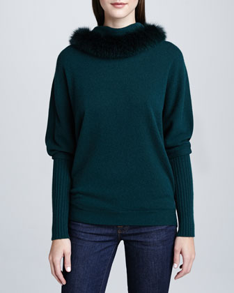 Fur-Trim Cashmere Top