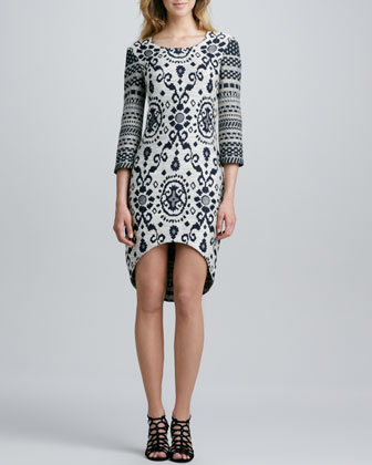 Delancey Mixed-Pattern Hi-Lo Dress