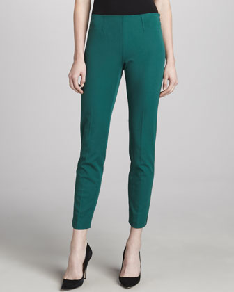Belisa Cropped Twill Pants, Emerald