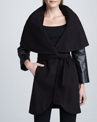 Marla Leather-Sleeve Coat