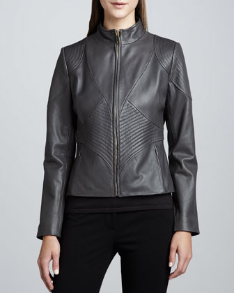 Kisha Leather Ribbed-Panel Jacket