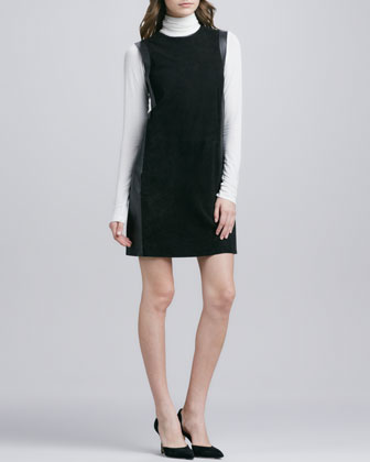 Leather-Framed Suede Dress, Black