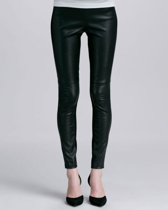 Contrast Leather/Suede Leggings, Black