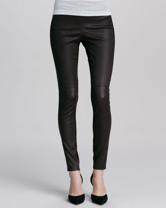 Contrast Leather/Suede Leggings, Prune