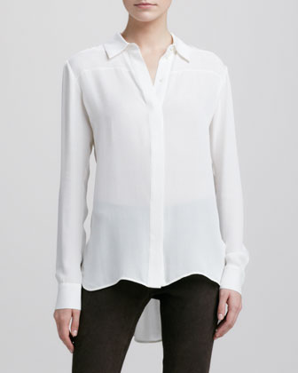 Cashmere Crewneck Sweater, button-down Silk Blouse, Ivory & button-down ...