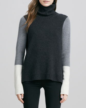 Tricolor Wool/Cashmere Sweater, Charcoal Combo